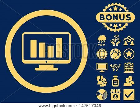 Bar Chart Monitoring icon with bonus elements. Vector illustration style is flat iconic symbols, yellow color, blue background.