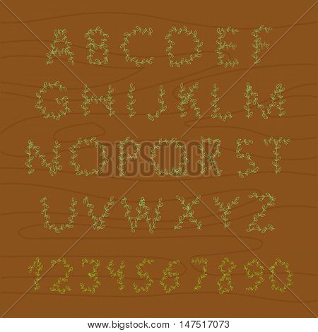 Decorative floral alphabet. Scribble floral wood alphabet. Curly ornamental spring scribble font can be used for design and decoration backgrounds greeting cards invitations notes messages.