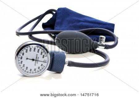 Blood Pressure devise with selective focus isolated over white background