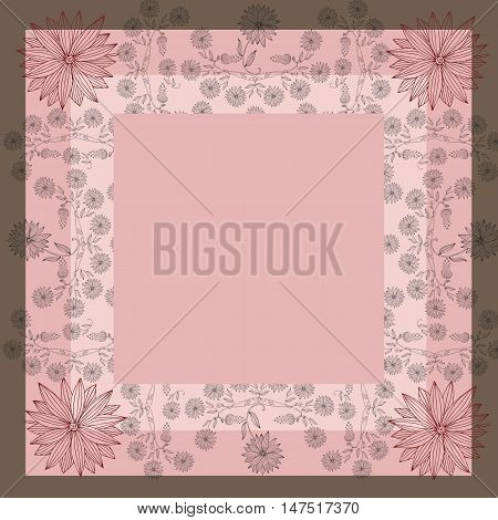 Lovely tablecloth or beautiful bandana print with floral border. Vector image. Hand drawn floral lace. Silk neck scarf with flowers on background in pink tones. Kerchief square pattern.