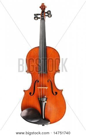 Vintage violin in frontal view isolated over white background
