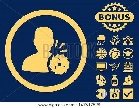 Body Execution icon with bonus images. Vector illustration style is flat iconic symbols, yellow color, blue background.