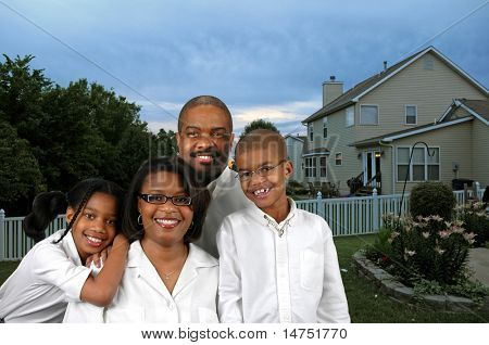 African American family in their backyard