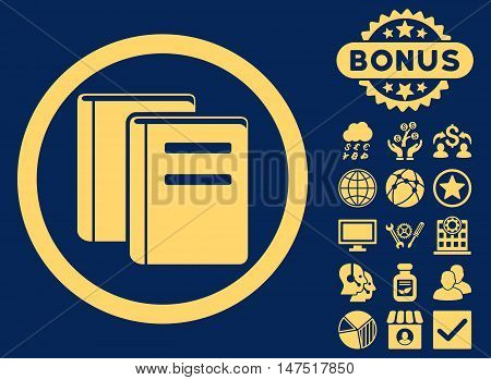 Books icon with bonus images. Vector illustration style is flat iconic symbols, yellow color, blue background.