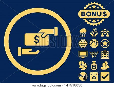 Bribe icon with bonus images. Vector illustration style is flat iconic symbols, yellow color, blue background.