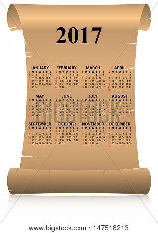 2017 Calendar Parchment
