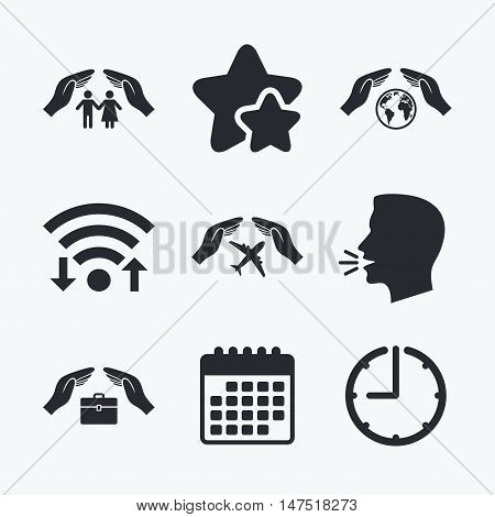 Hands insurance icons. Human life insurance symbols. Travel flight baggage symbol. World globe sign. Wifi internet, favorite stars, calendar and clock. Talking head. Vector