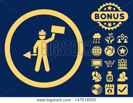 Builder With Shovel icon with bonus symbols. Vector illustration style is flat iconic symbols, yellow color, blue background.