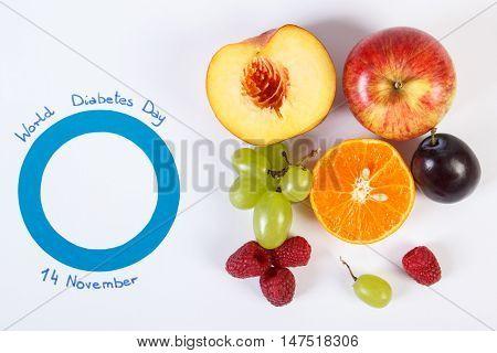 Symbol Of World Diabetes Day And Fresh Fruits On White Background