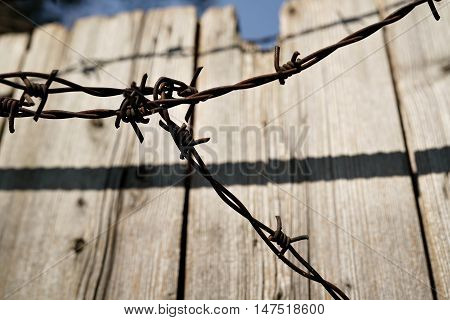 rusty Barbed wire on a wooden fence