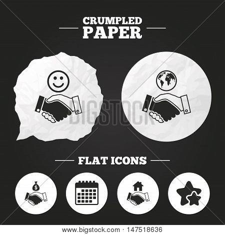 Crumpled paper speech bubble. Handshake icons. World, Smile happy face and house building symbol. Dollar cash money bag. Amicable agreement. Paper button. Vector