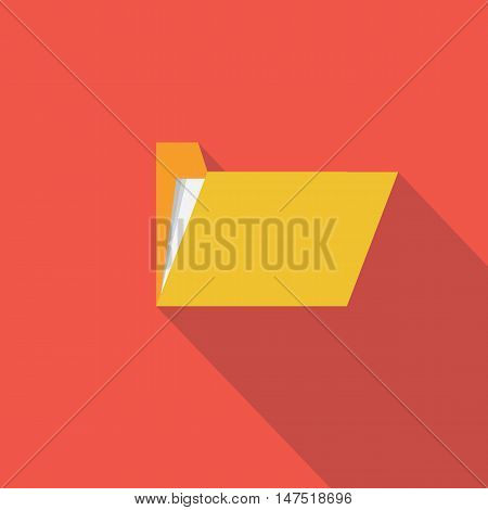 Folder icon Flat design style vector illustration. long shadow icon.