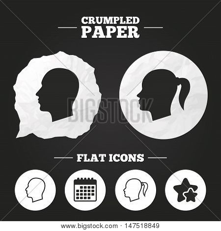 Crumpled paper speech bubble. Head icons. Male and female human symbols. Woman with pigtail signs. Paper button. Vector
