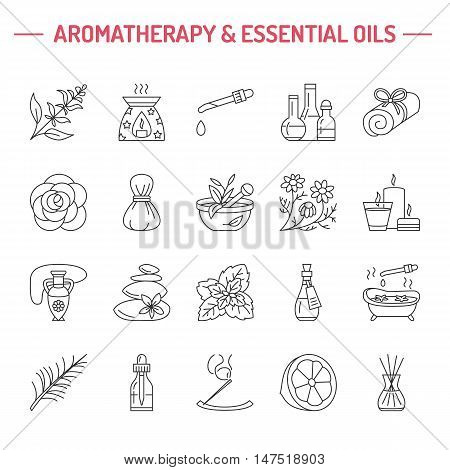 Modern vector line icons of aromatherapy and essential oils. Elements - aromatherapy diffuser oil burner spa candles incense sticks. Linear pictogram for aromatherapy salon.