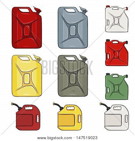 Vector Set Of Color Cartoon Jerry Cans
