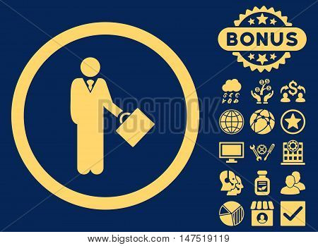 Businessman icon with bonus images. Vector illustration style is flat iconic symbols, yellow color, blue background.