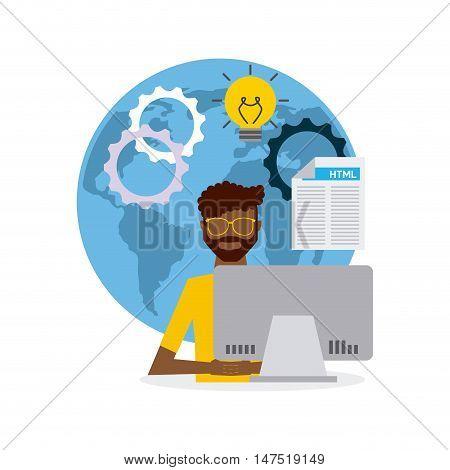 software developer and programmer vector illustration design