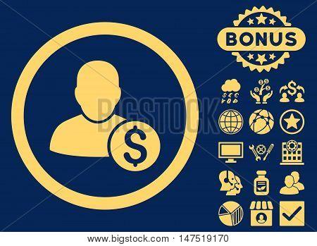 Businessman icon with bonus elements. Vector illustration style is flat iconic symbols, yellow color, blue background.