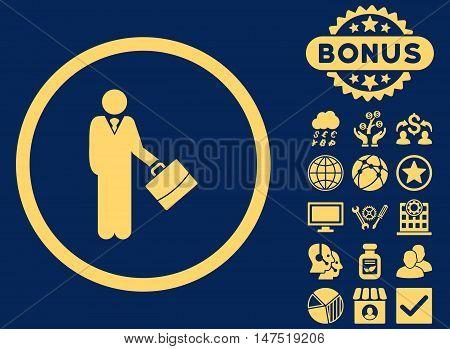 Businessman icon with bonus symbols. Vector illustration style is flat iconic symbols, yellow color, blue background.