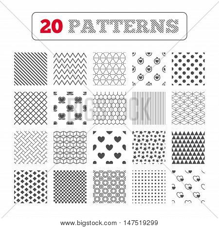 Ornament patterns, diagonal stripes and stars. Heart ribbon icon. Timer stopwatch symbol. Love and Heartbeat palpitation signs. Geometric textures. Vector