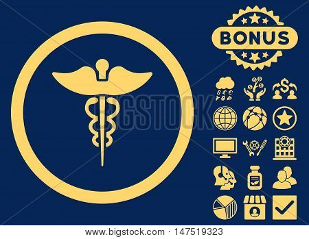 Caduceus icon with bonus symbols. Vector illustration style is flat iconic symbols, yellow color, blue background.