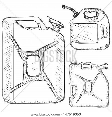 Vector Set Of Sketch Jerry Cans