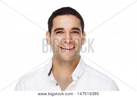 happy smiling young man, isolated against white studio background