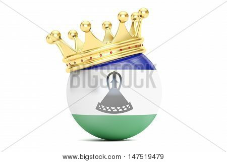 Crown with flag of Kingdom of Lesotho 3D rendering