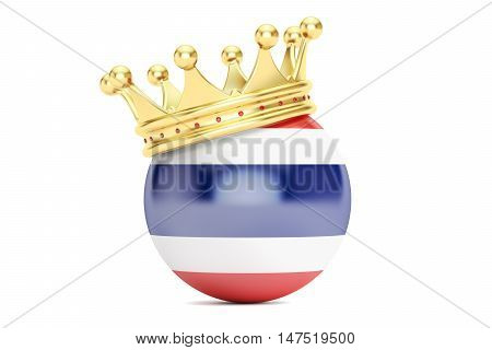 Crown with flag of Kingdom of Thailand 3D rendering