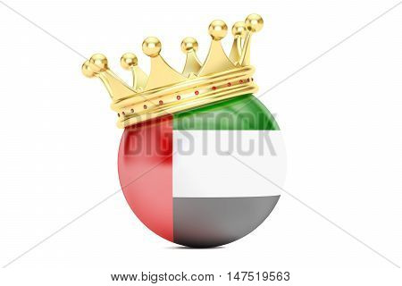 Crown with flag of United Arab Emirates 3D rendering