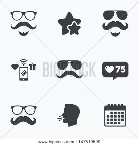 Mustache and Glasses icons. Hipster with beard symbols. Facial hair signs. Flat talking head, calendar icons. Stars, like counter icons. Vector