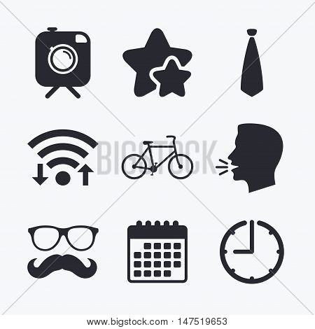 Hipster photo camera with mustache icon. Glasses and tie symbols. Bicycle family vehicle sign. Wifi internet, favorite stars, calendar and clock. Talking head. Vector