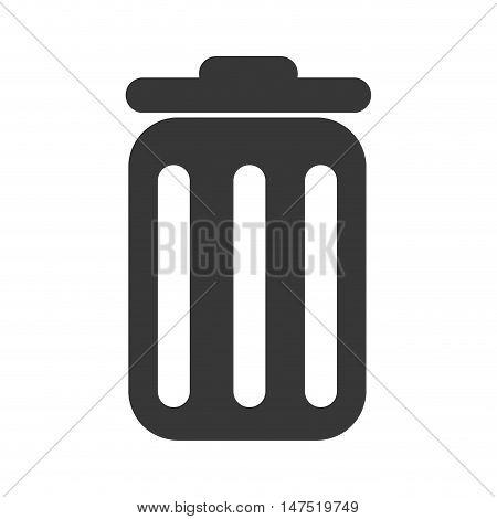 Trash can, rubbish bin or garbage silhouette. vector illustration