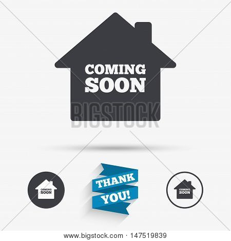 Homepage coming soon sign icon. Promotion announcement symbol. Flat icons. Buttons with icons. Thank you ribbon. Vector