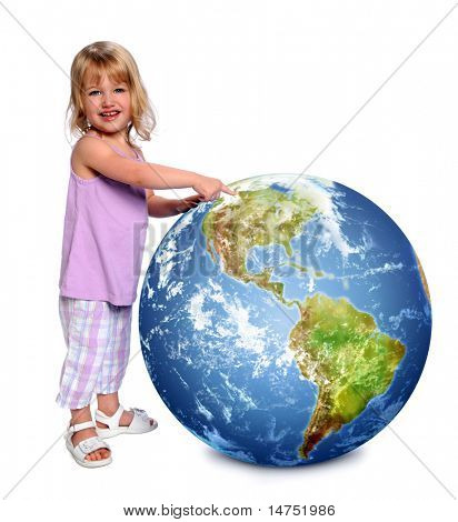 Young girl holding and pointing at earth isolated over white background