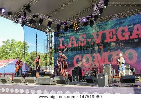 St. Petersburg, Russia - 12 August, Group pop musicians at the festival Harley Davidson,12 August, 2016. Pop and rock musicians on Harley Davidson festival in St. Petersburg.