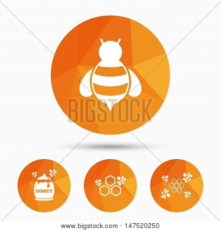 Honey icon. Honeycomb cells with bees symbol. Sweet natural food signs. Triangular low poly buttons with shadow. Vector