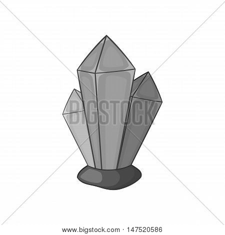 Crystals of natural gemstone icon in black monochrome style on a white background vector illustration