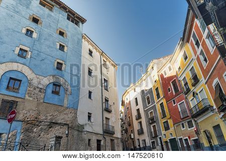 Cuenca (Castilla-La Mancha Spain) an old typical street with colorful houses