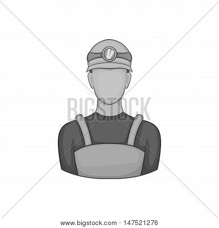 Coal miner icon in black monochrome style on a white background vector illustration