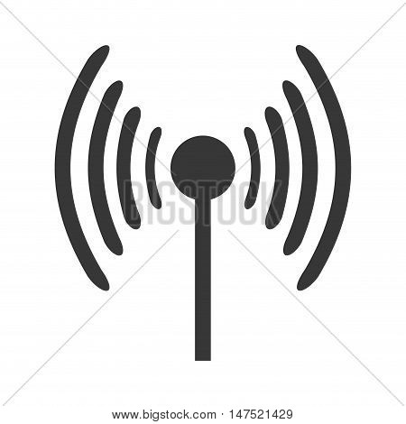 antenna with signal waves. telecommunication  transmission. vector illustration