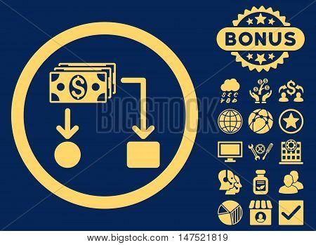 Cashflow icon with bonus design elements. Vector illustration style is flat iconic symbols, yellow color, blue background.