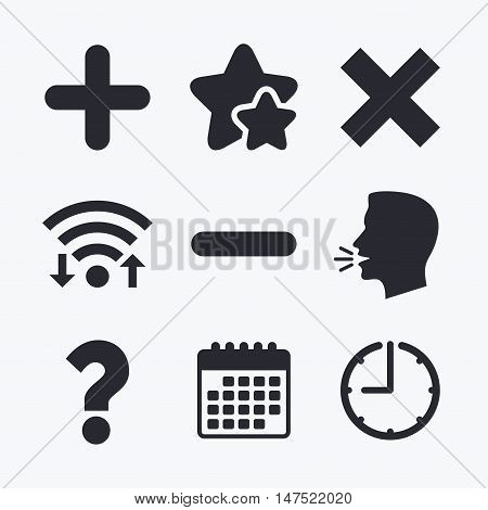 Plus and minus icons. Delete and question FAQ mark signs. Enlarge zoom symbol. Wifi internet, favorite stars, calendar and clock. Talking head. Vector