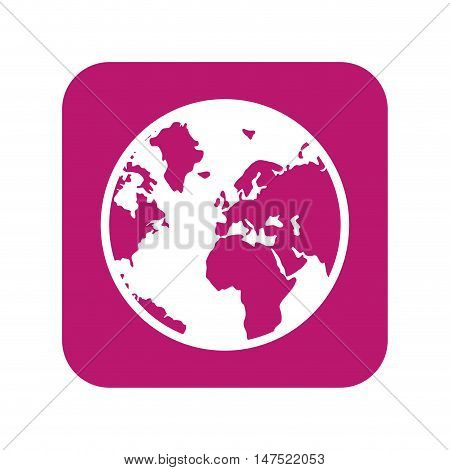 earth planet. world globe map on pink background. silhouette. vector illustration