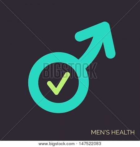 Modern vector flat icon of man sex symbol. Adult shop linear logo. Symbol of men power good potency. Simple icon on dark background for urology clinic.