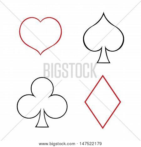 Vector Set Of  Line Art Playing Cards Suits Signs