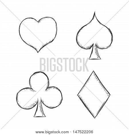 Vector Set Of  Sketch Playing Cards Suits Signs