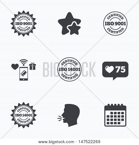 ISO 9001 and 14001 certified icons. Certification star stamps symbols. Quality standard signs. Flat talking head, calendar icons. Stars, like counter icons. Vector