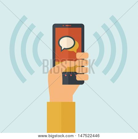 Hand holding smartphone with bubble, call and sends message via sms chat with internet wifi. Communication concept. A contemporary style with pastel palette, soft blue tinted background. flat design