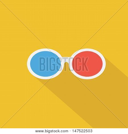 3D glasses icon Flat design style vector illustration. long shadow icon.